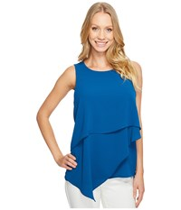 Vince Camuto Sleeveless Asymmetrical Layered Blouse Port Blue Women's Blouse