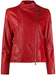 Peuterey Crissy Logo Patch Biker Jacket Red