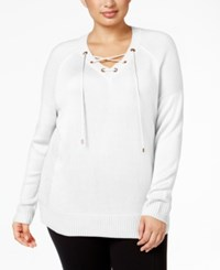 Calvin Klein Plus Size Lace Up Sweater Soft White