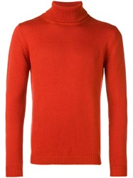 Nuur Ribbed Roll Neck Fitted Sweater Yellow And Orange
