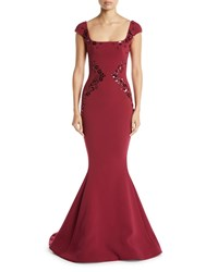 Zac Posen Square Neck Cap Sleeve Trumpet Evening Gown W Paillette Embroidery Medium Red