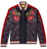 Gucci Slim Fit Appliqued Velvet And Paisley Print Jersey Bomber Jacket Red