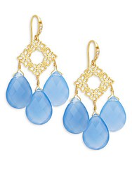 Indulgems Floral Blue Chalcedony Drops Earrings