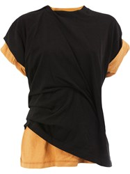 Aganovich Twisted Double Layered T Shirt Cotton L Black