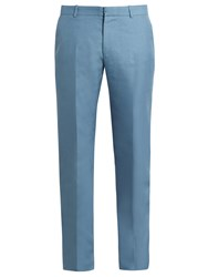Alexander Mcqueen Slim Fit Mohair And Silk Blend Trousers Light Blue