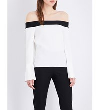 Roland Mouret Heany Crepe Off The Shoulder Top White