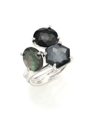 Ippolita Rock Candy Black Tie Semi Precious Multi Stone And Sterling Silver Cluster Ring Silver Black
