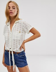 Superdry Louise Broderie Anglaise Shirt White