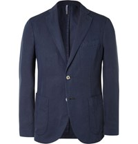 Incotex Slim Fit Linen And Cotton Blend Blazer Blue
