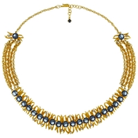 Eclectica Vintage 1960S Kramer Gold Plated Glass Stone Necklace Blue