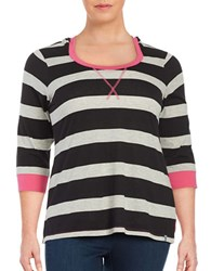 Marc New York Striped Hooded Top Black Rose