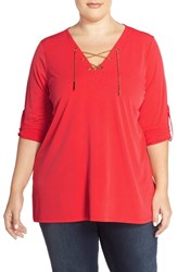 Plus Size Women's Michael Michael Kors Jersey Chain Lace Up Tunic Coral Reef
