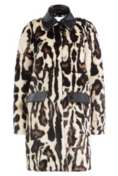 Carven Faux Fur Coat Multicolor