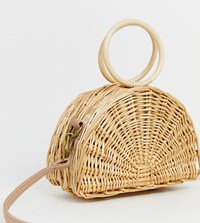 South Beach Straw Half Moon Bag With Round Handle And Cross Body Strap Beige