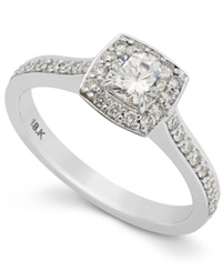 Macy's Round Diamond Halo Engagement Ring In 18K White Gold 3 4 Ct. T.W.