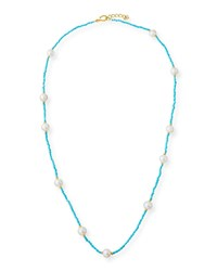 Dina Mackney Long Sleeping Beauty Turquoise And Pearl Necklace 36