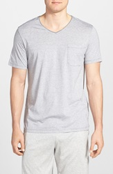 Daniel Buchler Pima Cotton And Modal V Neck T Shirt White Grey Stripe