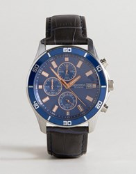 Sekonda Chronograph Leather Watch In Black Exclusive To Asos Navy