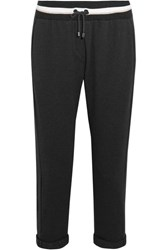 Brunello Cucinelli Cropped Cotton Blend Track Pants Dark Gray