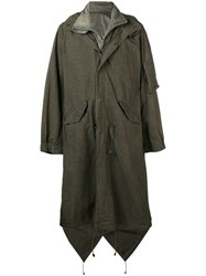 Yohji Yamamoto Long Length Military Coat Green