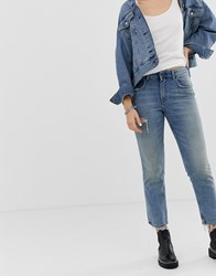 Cheap Monday Cropped Mom Jeans In Rigid Denim With Destroyed Pocket Blue
