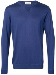 Laneus Fine Knit Fitted Sweater Blue