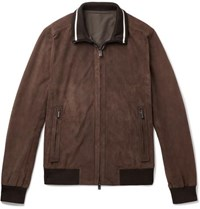 Ermenegildo Zegna Perforated Suede Bomber Jacket Brown