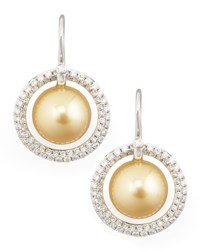 Eli Jewels Golden South Sea Pearl And Diamond Halo Earrings 1.15Ct