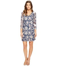Adrianna Papell Marrakesh Embroidery Trapeze Navy Taupe Women's Dress Blue
