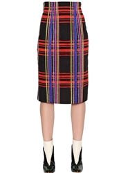 Tsumori Chisato Wool And Cotton Jacquard Pencil Skirt Black