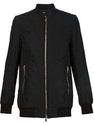 Thamanyah Band Collar Bomber Jacket Black