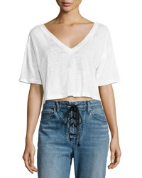 A.L.C. Connor Cropped Boxy Linen Tee White