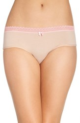 Betsey Johnson Women's Stretch Cotton Hipster Briefs Sand