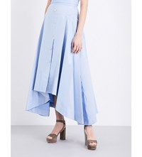 Peter Pilotto A Line Cotton Linen Blend Skirt Light Blue