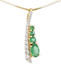 Rare Featuring Gemfields Certified Emerald 1 2 Ct. T.W. And Diamond 1 5 Ct. T.W. Pendant Necklace In 14K Gold Yellow Gold