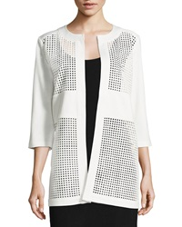 Grayse Perforated Faux Leather Combo Jacket White