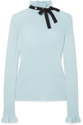 Red Valentino Redvalentino Grosgrain Trimmed Wool Sweater Sky Blue