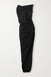 Redemption Cutout Draped Ruched Stretch Jersey Gown Black