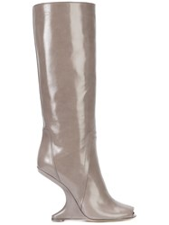 Rick Owens Cantilevered Boots Women Calf Leather Goat Skin Rubber 36 Nude Neutrals
