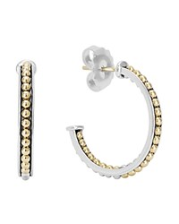 Lagos 18K Gold And Sterling Silver Enso Small Caviar Lined Hoop Earrings Silver Gold