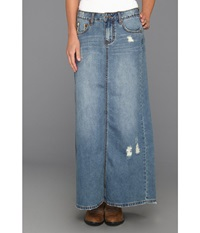 Stetson Long Denim Skirt W Back Slit Blue Women's Skirt
