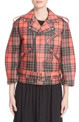 Comme Des Garcons Women's Tartan Plaid Faux Leather Moto Jacket