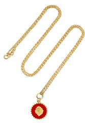 Foundrae Strength 18 Karat Gold Enamel Necklace