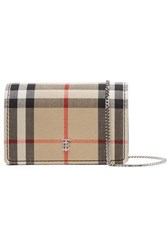 Burberry Checked Canvas And Leather Shoulder Bag Brown