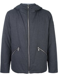 Moncler Gamme Bleu Striped Lining Hooded Puffer Grey