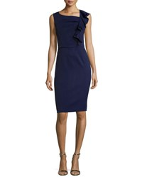 Carolina Herrera Side Ruffle Sleeveless Cocktail Sheath Dress Navy