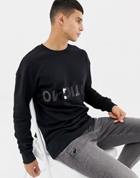 Jack And Jones Core Sweat With Condition Text Print In Black