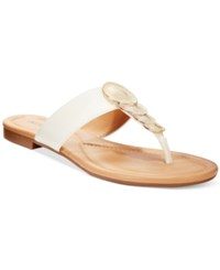 Alfani Harlquin Flat Thong Sandals Only At Macy's Women's Shoes White Lizard