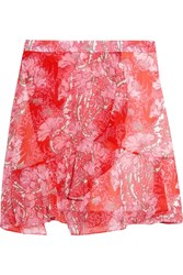 Carven Wrap Effect Floral Print Georgette Mini Skirt Red