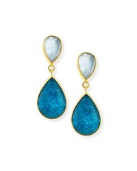 Dina Mackney Apatite Doublet Teardrop Earrings Blue